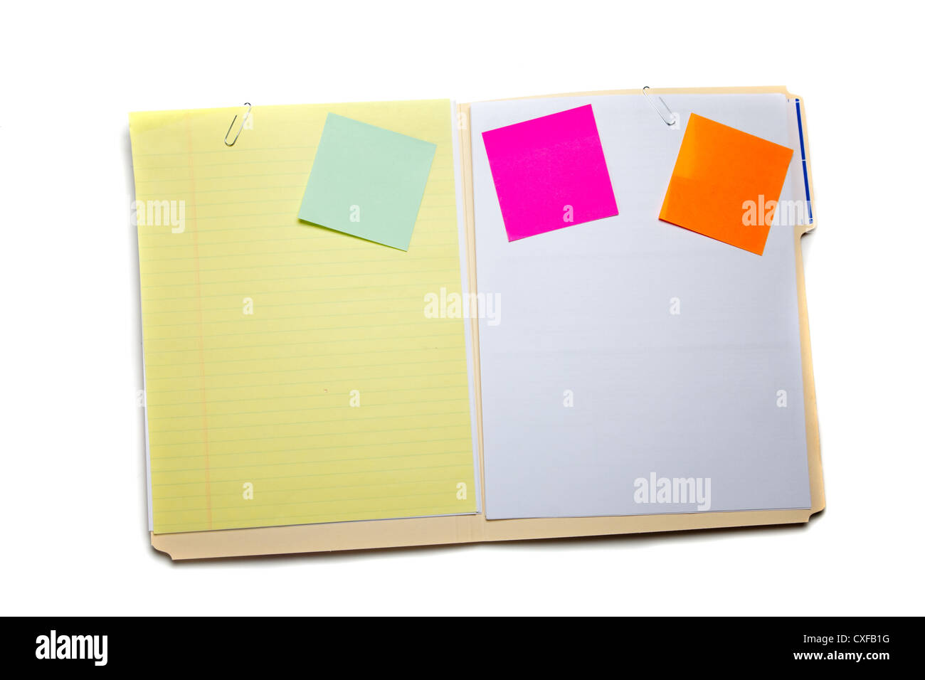 Folder with post it notes and paper - Stock Image