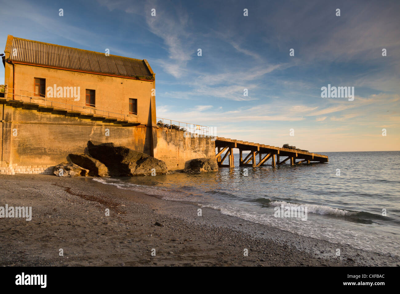 Lizard; Old Lifeboat House; Cornwall; UK; sunset Stock Photo