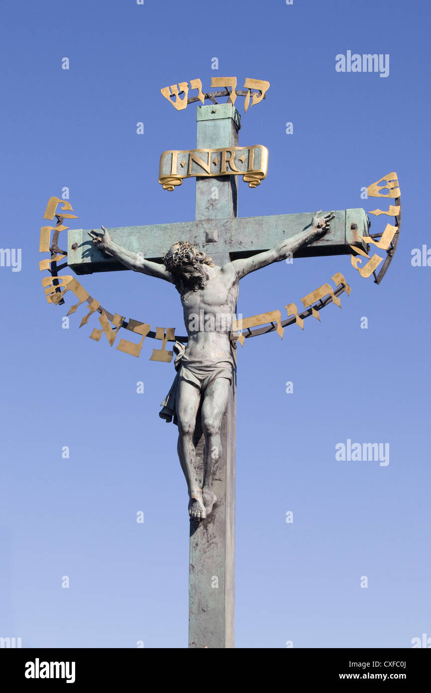 Statuary of the Holy Crucifix Charles Bridge - Stock Image