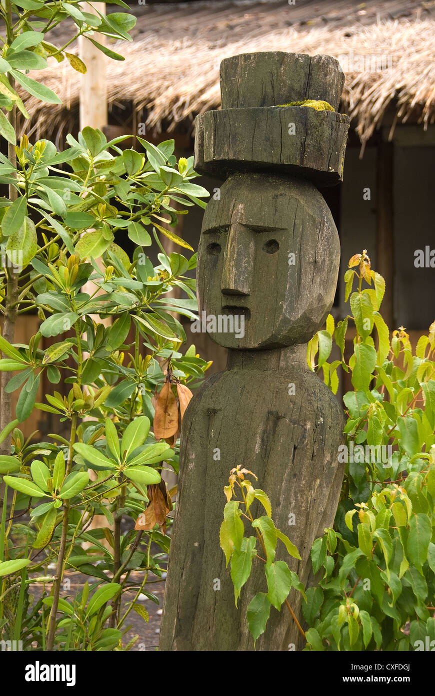 Elk198-3208v Chile, Villarrica, Mapuche Indian effigy poles - Stock Image