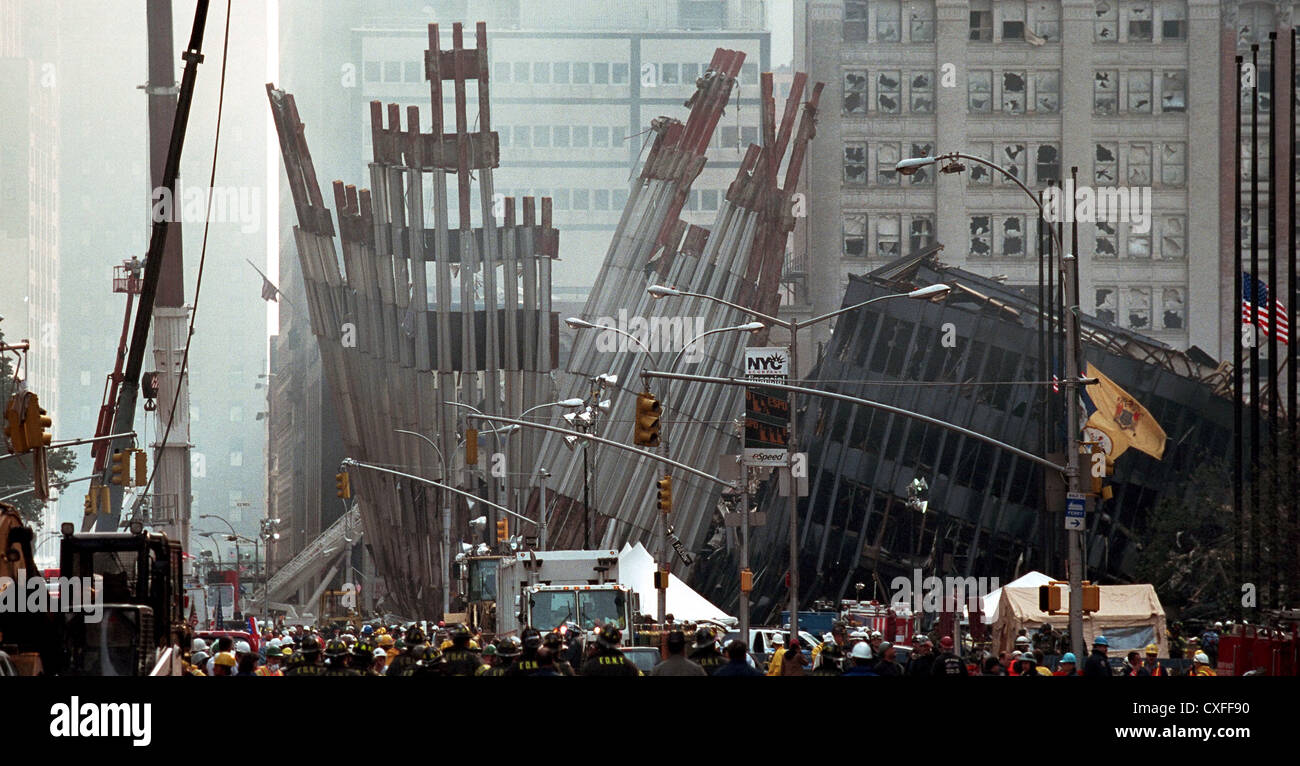 Remains of the World Trade Center following terrorist attacks September 14, 2001 in New York City. - Stock Image