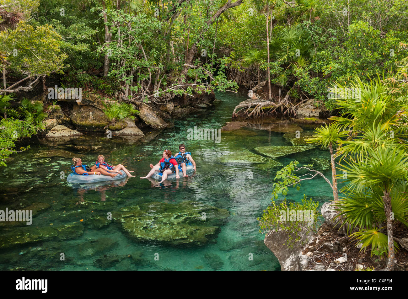 Rafting In The Lagoon At Xel Ha Nature Park Riviera Maya Mexico