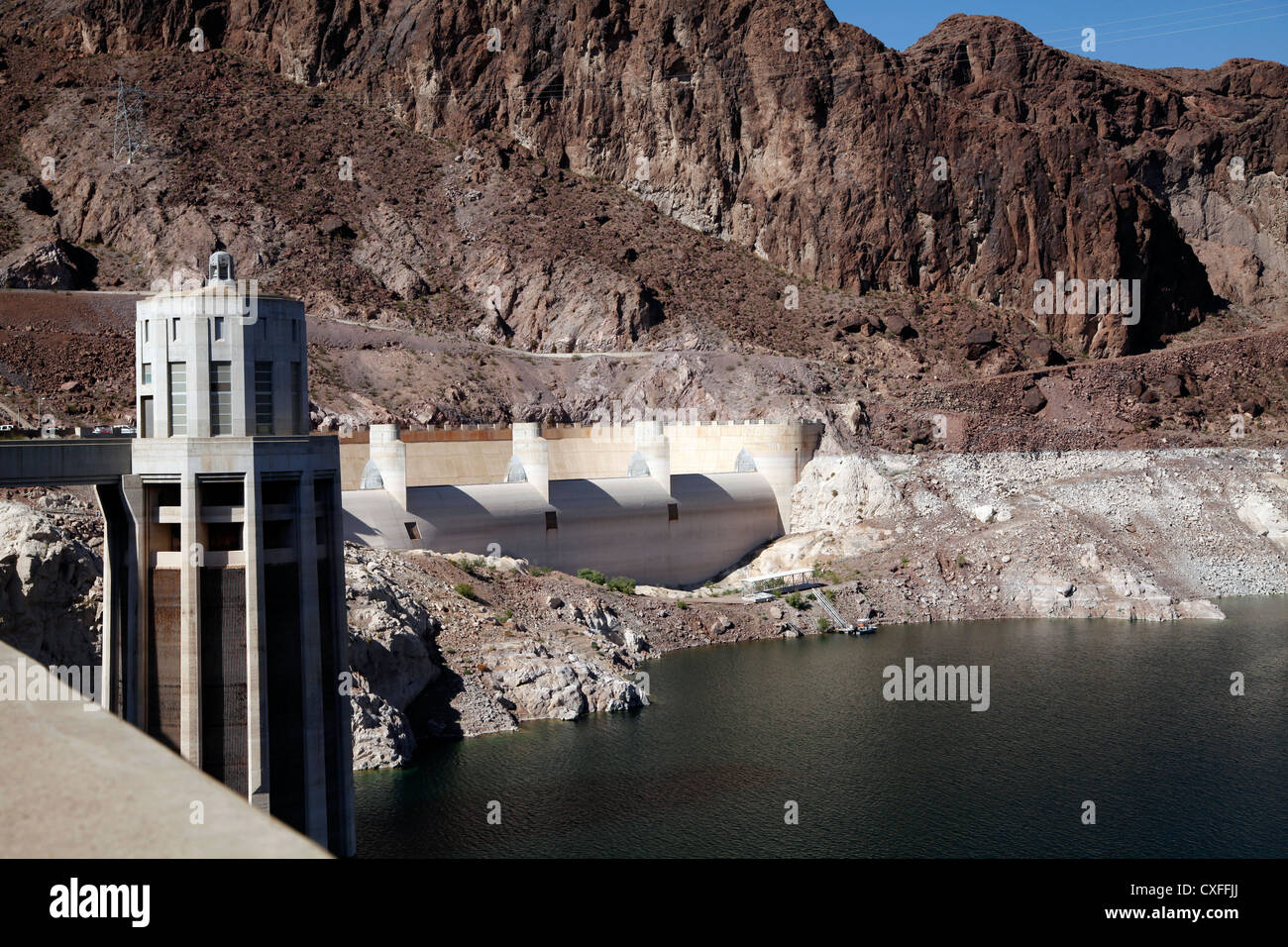 Shore of Lake Mead at Hoover Dam, Showing Penstock Tower on the Nevada Side Stock Photo