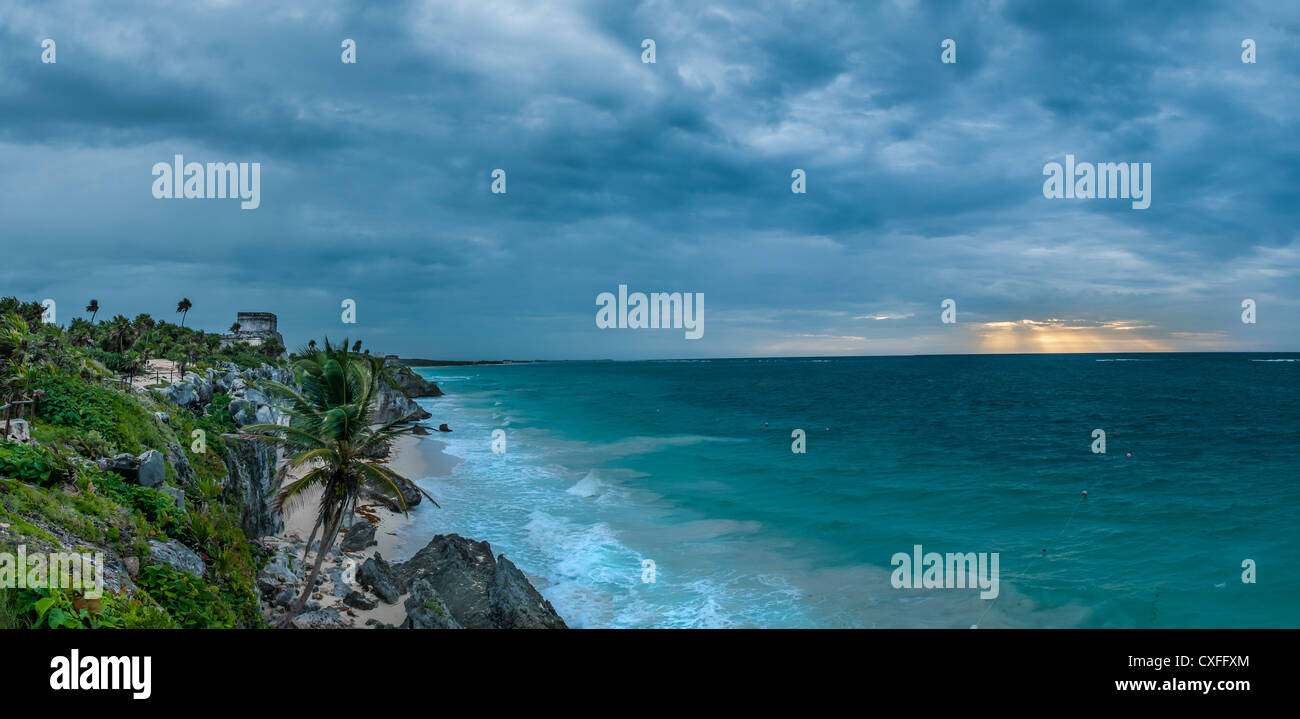 Tulum Maya ruins at sunrise on a stormy day; Yucatan Peninsula, Mexico. - Stock Image