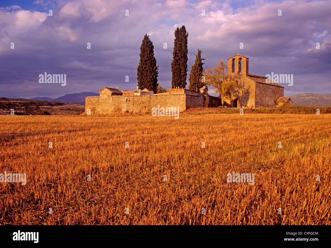 Romanesque chapel of Nuestra Señora del Llano roda of Isabena Ribagorza Huesca Aragon Spain ermita romanica - Stock Image