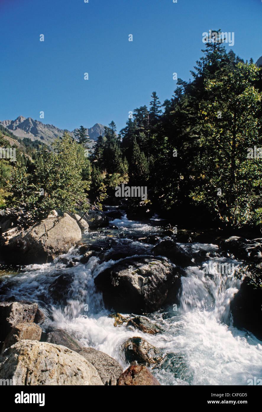 benasque Esera River region of Ribagorza Aragon Pyrenees Huesca Spain rio esera benasque comarca de la ribagorza - Stock Image