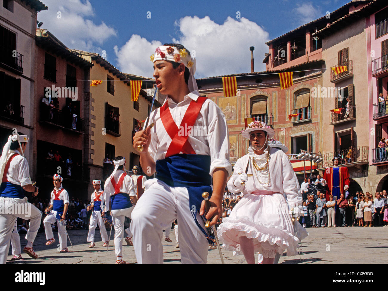 dance group in the festivities of San Miguel National Tourist Interest in graus Ribagorza region of Huesca Aragon - Stock Image
