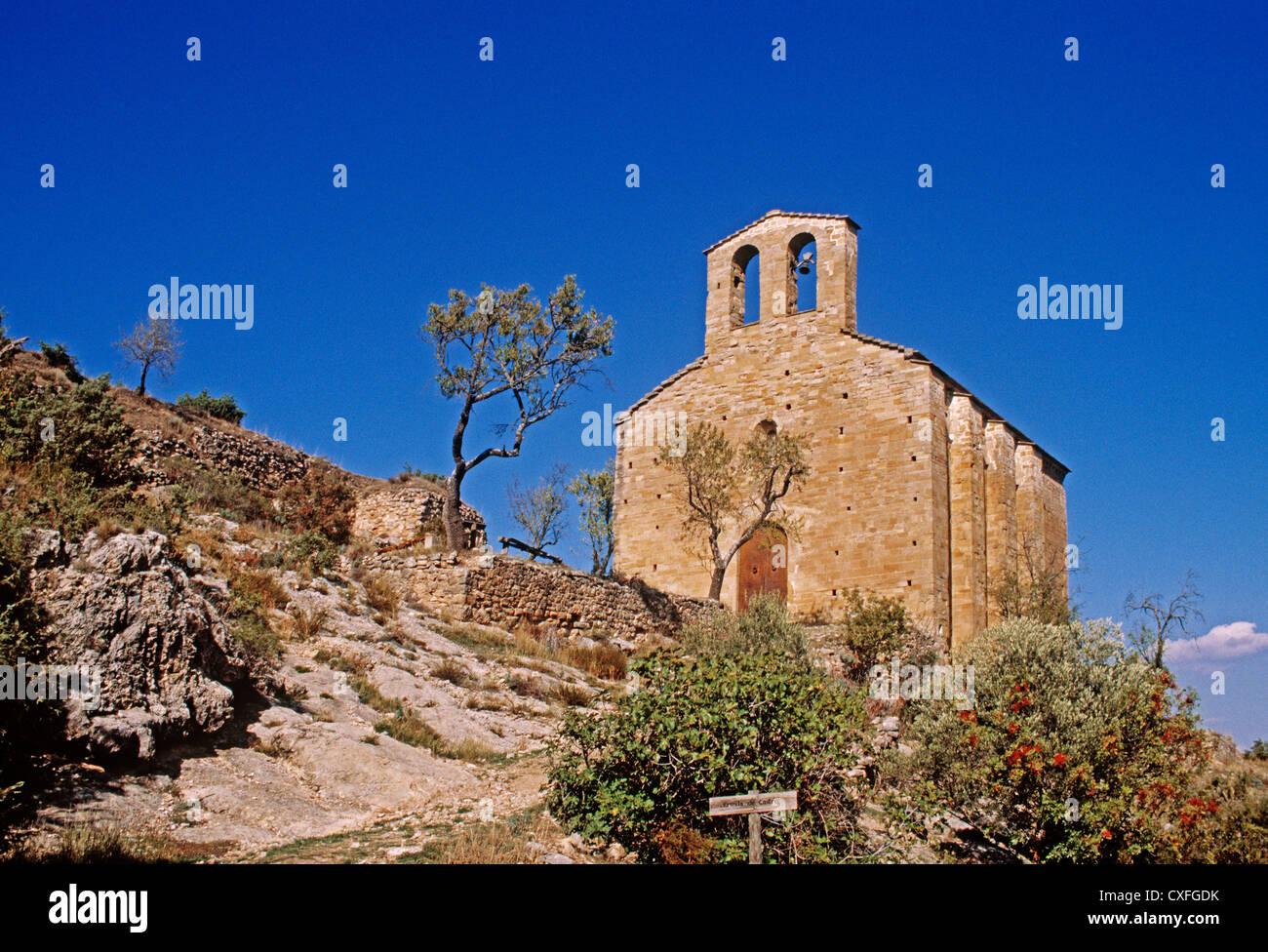 Romanesque chapel Puebla de Castro Ribagorza region of Huesca Aragon Spain ermita romanica de castro españa - Stock Image