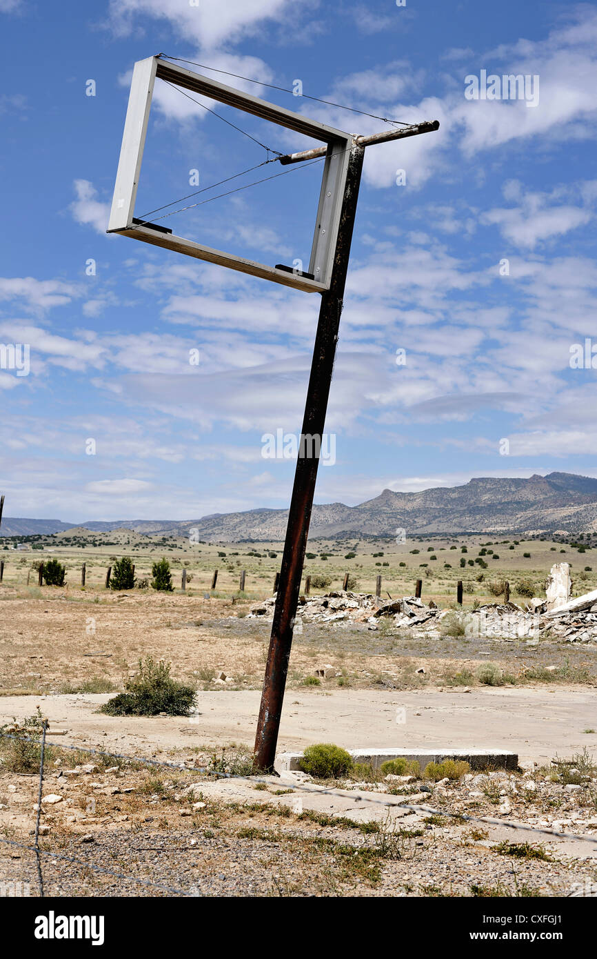 Empty/Sign To Nowhere Route 66 Mother Road Arizona - Stock Image