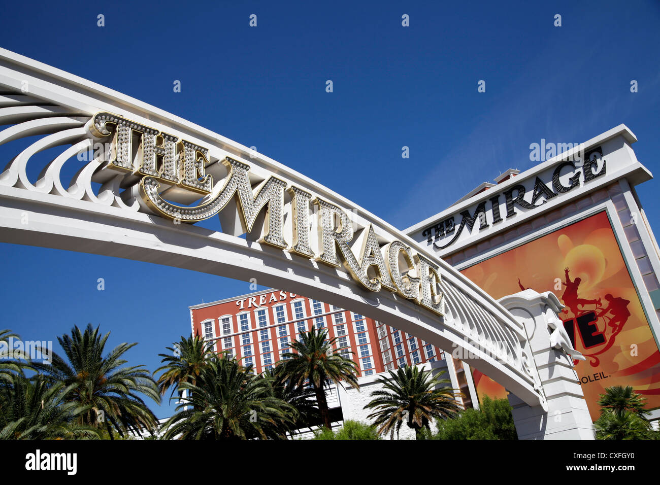 Entry Driveway Arch at the Mirage Hotel, Las Vegas, NV, USA - Stock Image