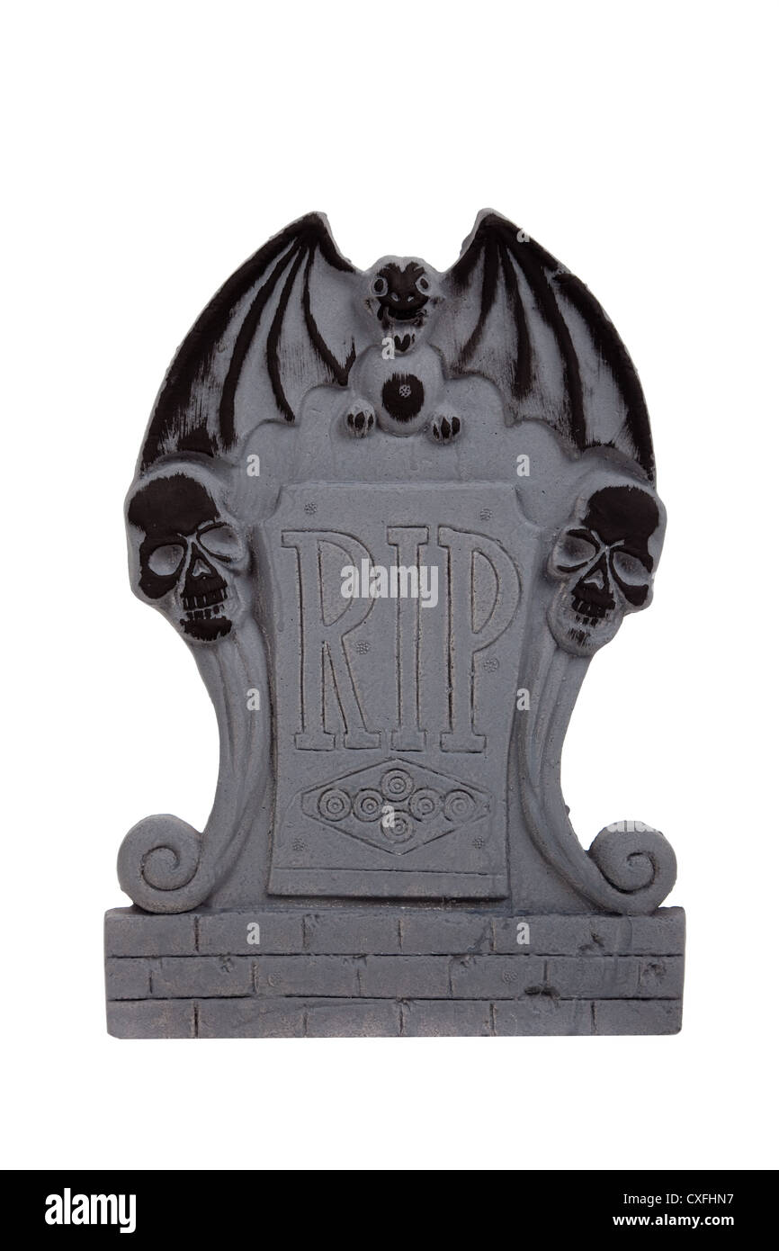 Halloween headstone on a white background - Stock Image