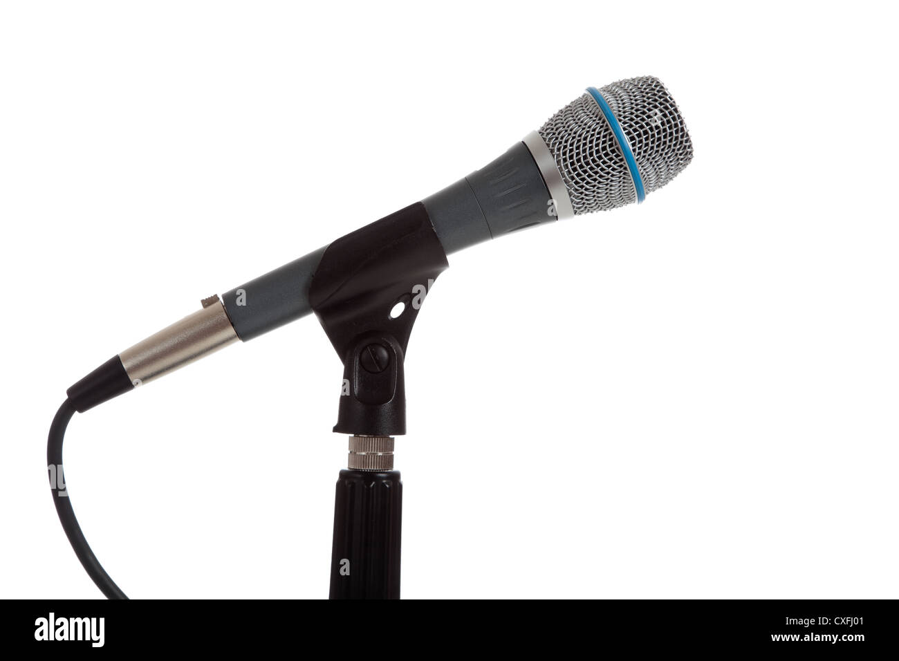 a silver mic on a stand on a white background - Stock Image