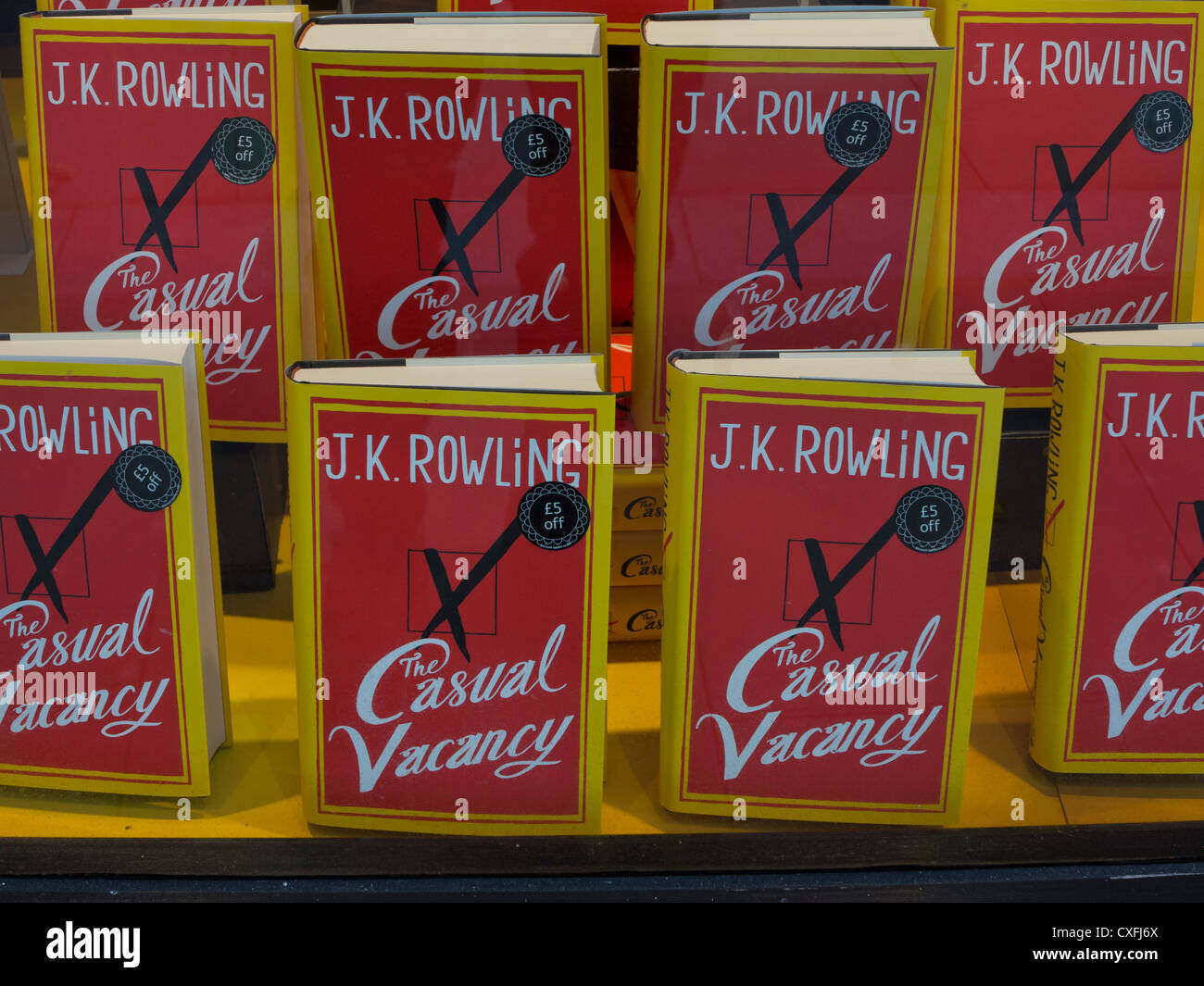 Writer J.K. Rowling fist novel since the end of the Harry Potter series:The Casual Vacancy for sale in bookstores - Stock Image