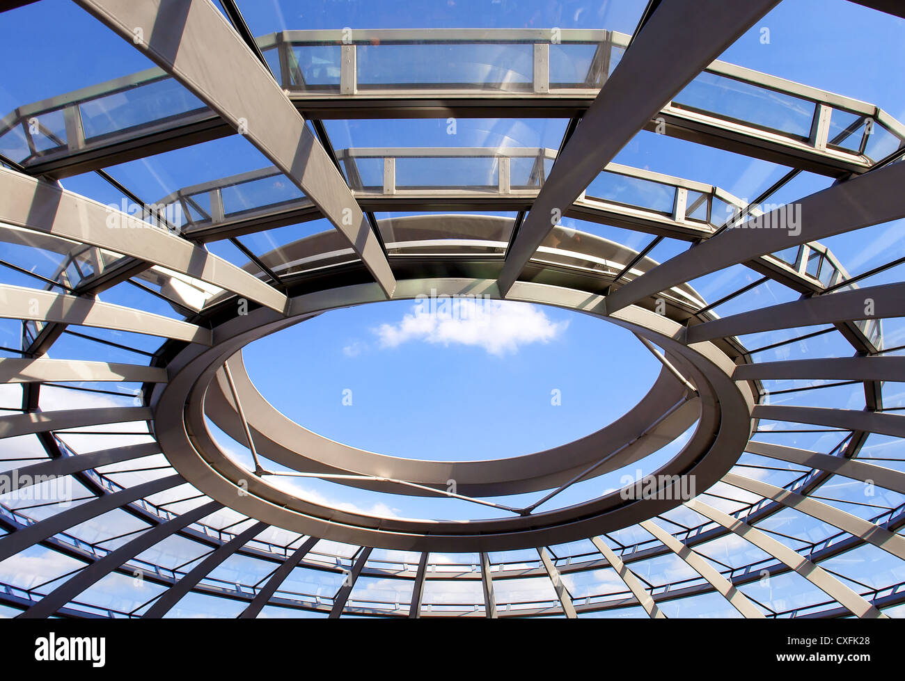 Modern dome of Reichstag (Germany's parliament building) in Berlin. Design by architect Norman Foster - Stock Image