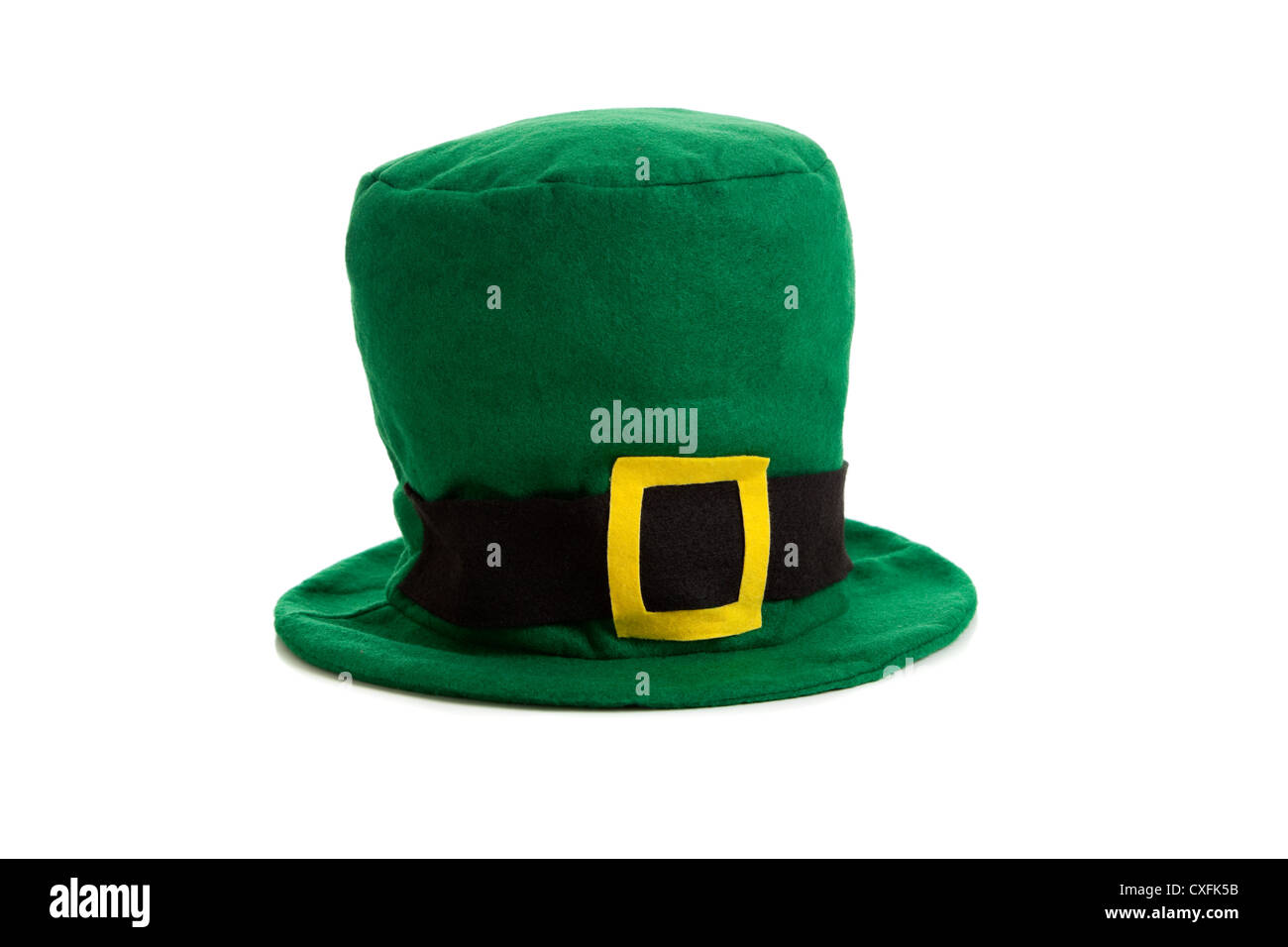 St. Patrick's day green leprechaun hat on a white background - Stock Image