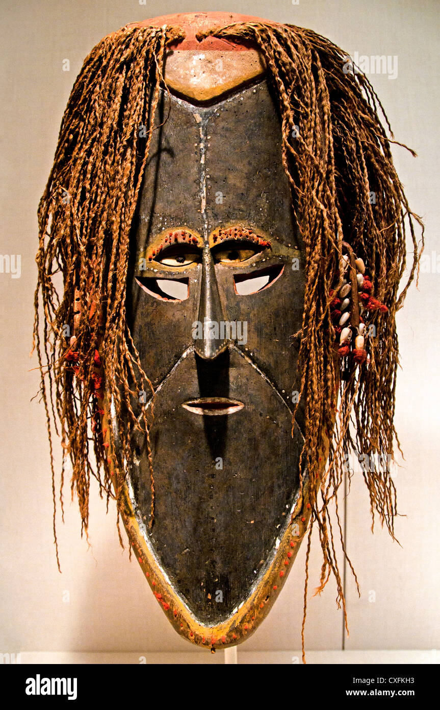 Mask Mawa19th–early 20th cent  Australia  Saibai Island Torres Strait  Wood paint shells cloth wool fiber Dimensions - Stock Image