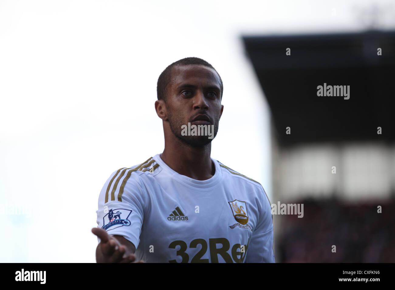 Wayne Routledge, Barclays Premier League, Stoke City (red) V Swansea, Britannia Stadium, 29/09/12 - Stock Image