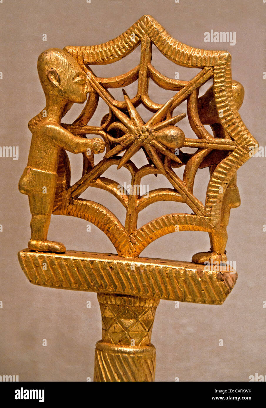 Linguist Staff Okyeame 19th century Ghana Akan peoples Asante Gold foil wood nails156 cm Africa - Stock Image