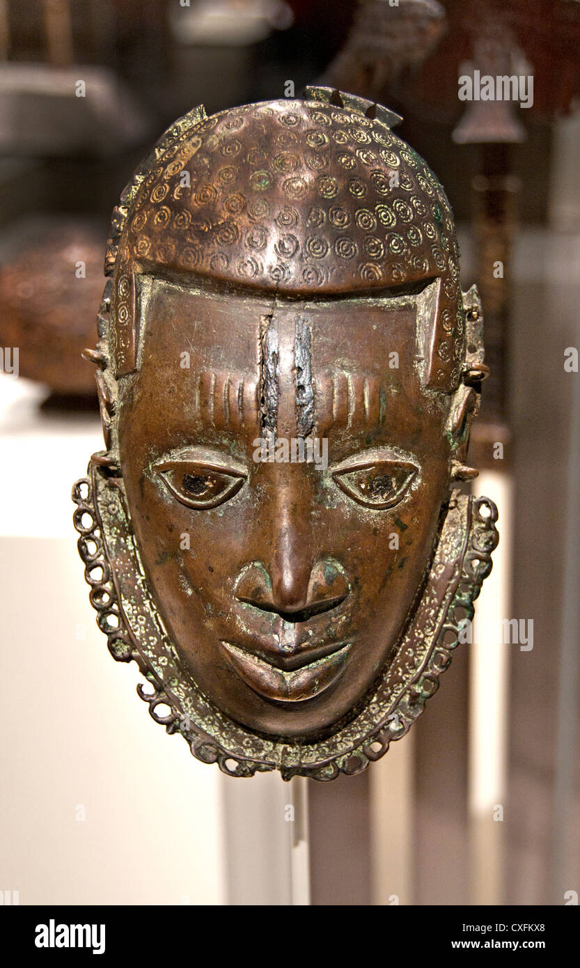 Pectoral Face 15th–17th century Nigeria Court of Benin Edo peoples Brass19 cm Africa - Stock Image