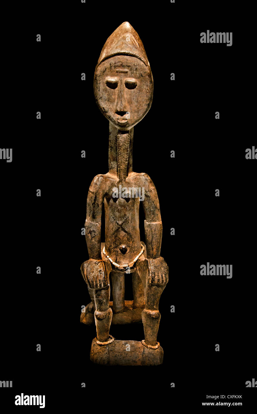 Seated Figure 9th century  Côte d'Ivoire Baule peoples Africa - Stock Image