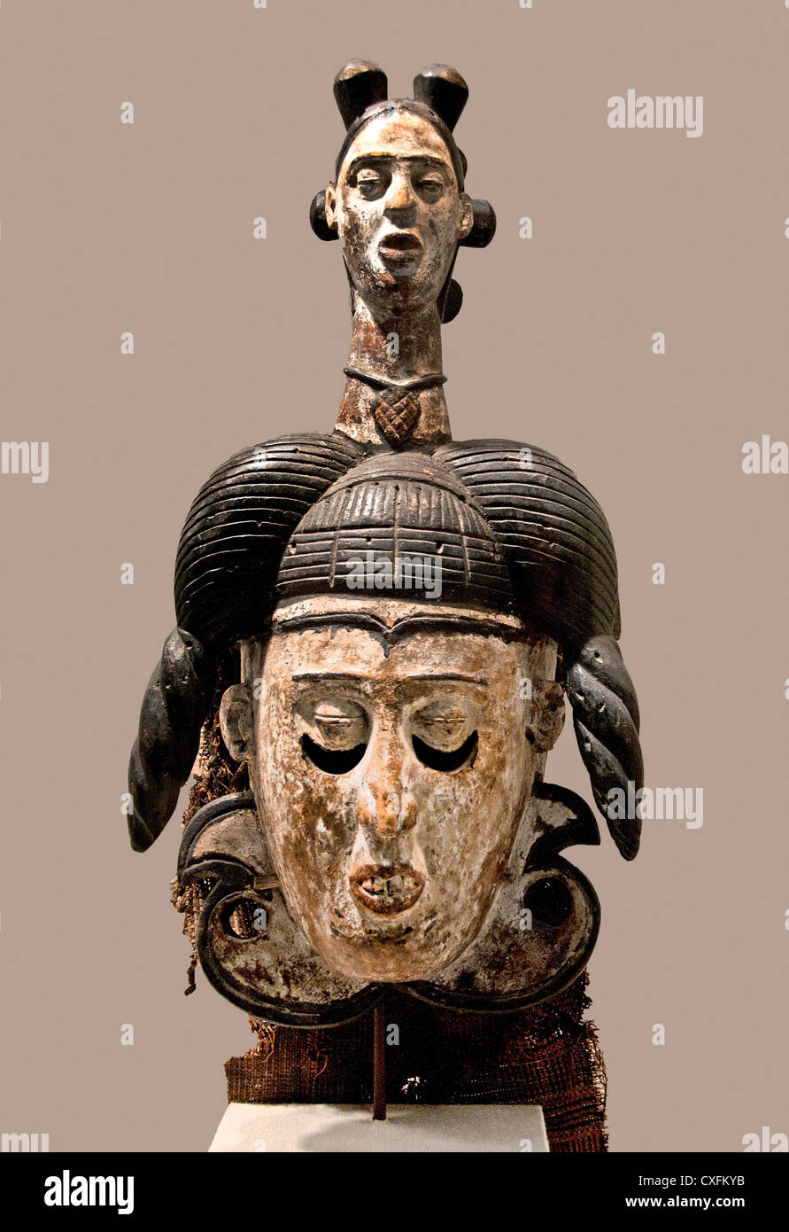 White Faced Mask 19th–20th century Nigeria Ibibio peoples Africa - Stock Image