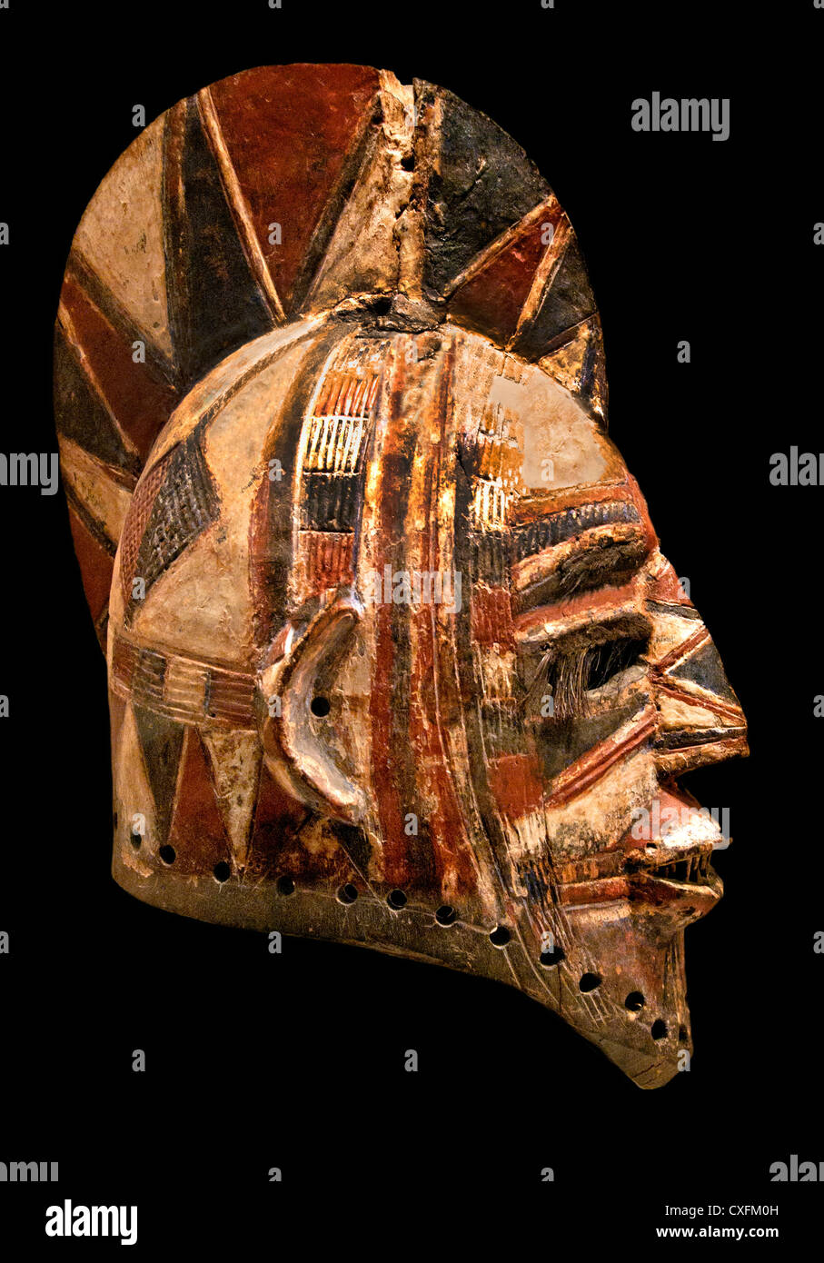 Helmet Mask Bolo 19th 20th century  Burkina Faso  Bobo Peoples  Medium Wood Sculpture Helmet Mask (Bolo) Africa - Stock Image