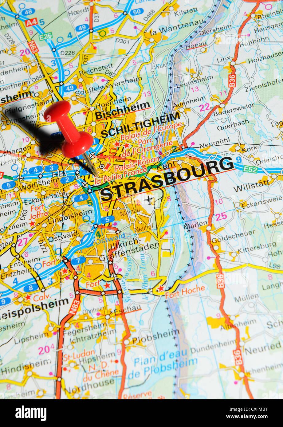 Strasbourg France On Map Stock Photo 50747084 Alamy