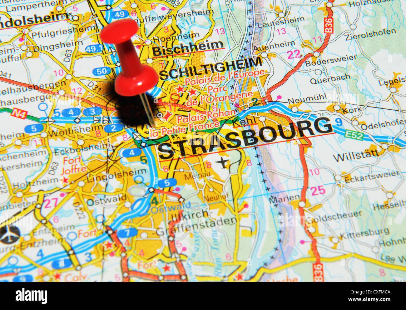 Strasbourg France On Map Stock Photo 50747098 Alamy