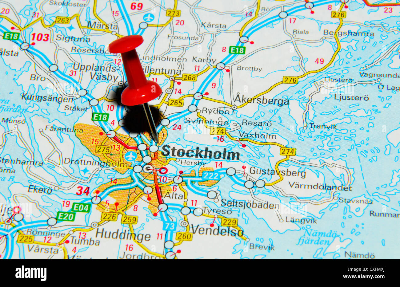 Stockholm On Map Stock Photo 50747498 Alamy
