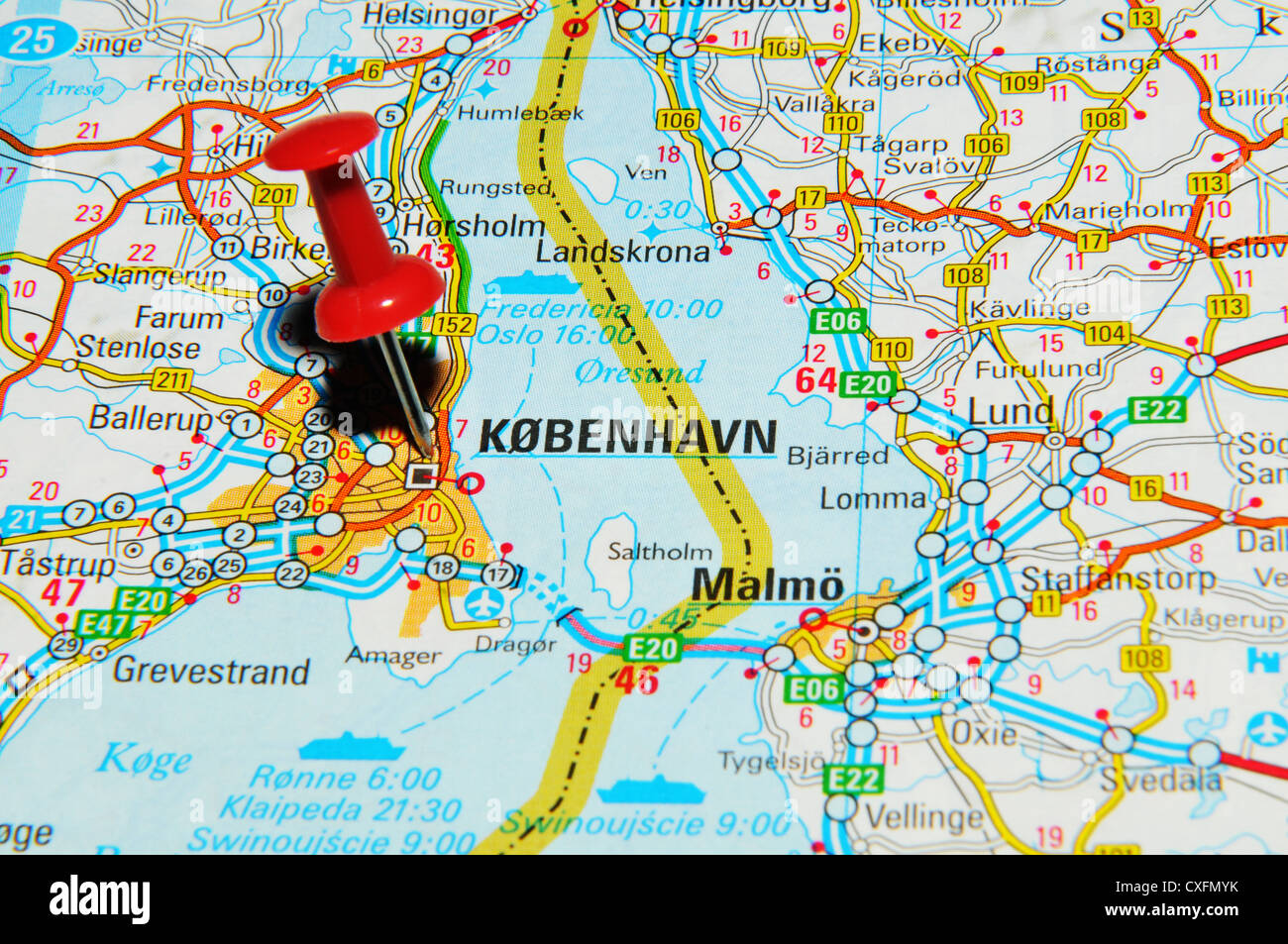 Copenhagen on map - Stock Image