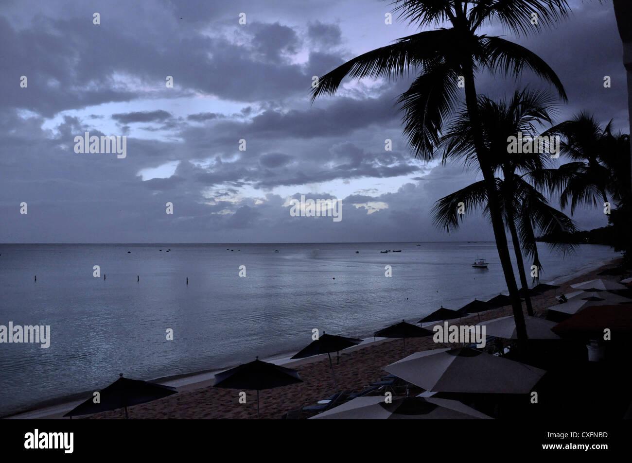 Barbados, beach, evening,, monochromatic - Stock Image