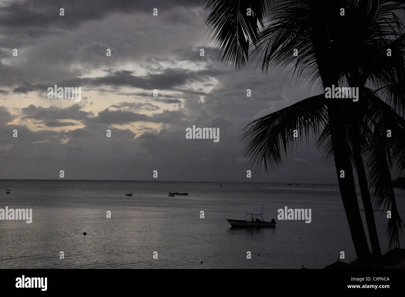 Barbados, fishing boats, evening,, monochromatic - Stock Image