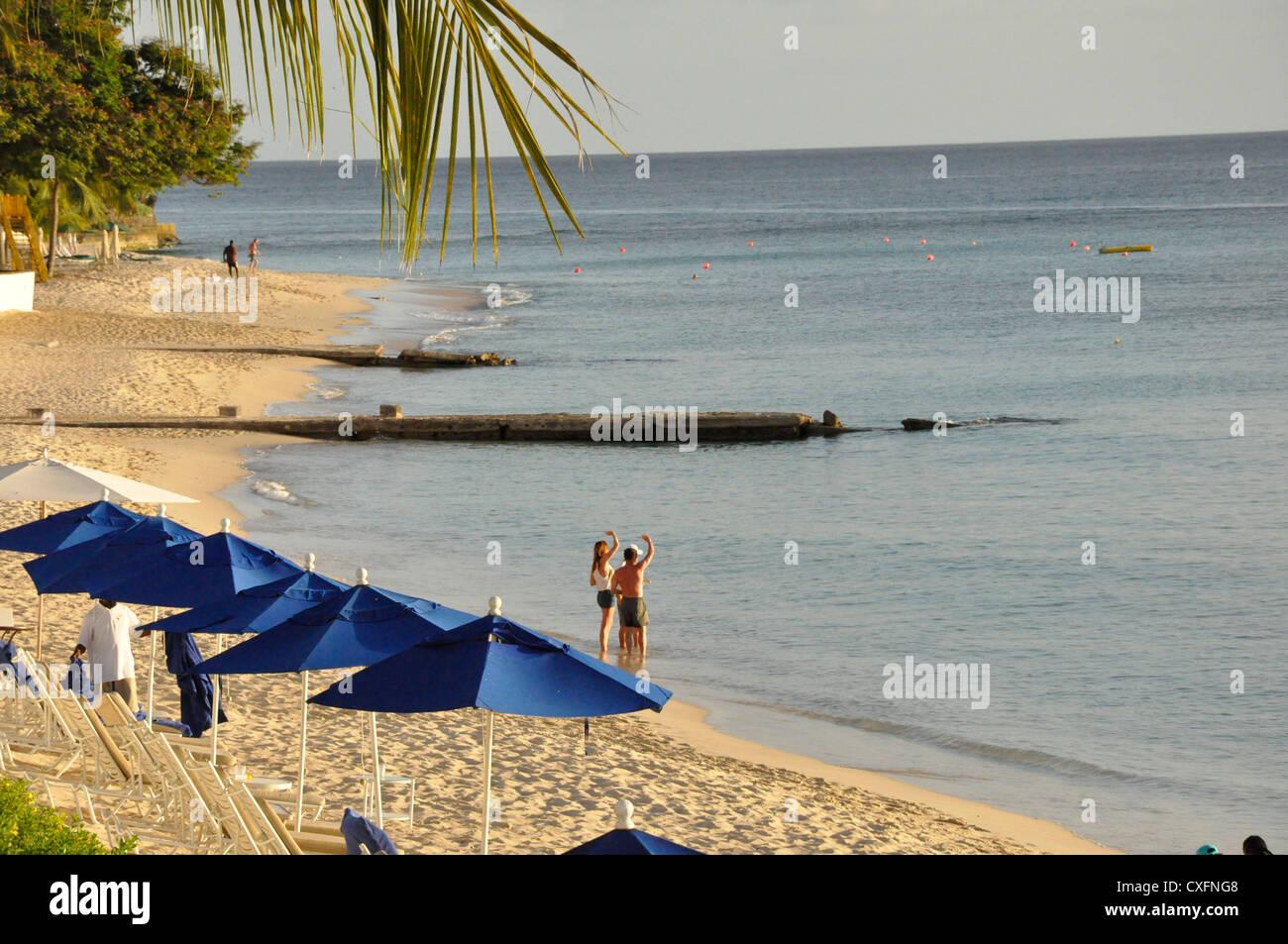 Royal Pavilion Barbados, Beach, holiday, guests, summer - Stock Image