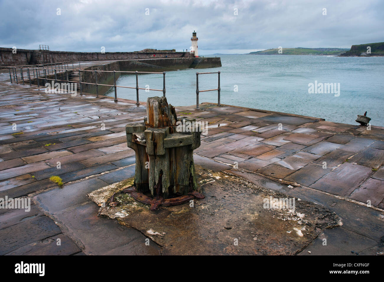 Whitehaven harbour and lighthouse, Cumbria - Stock Image