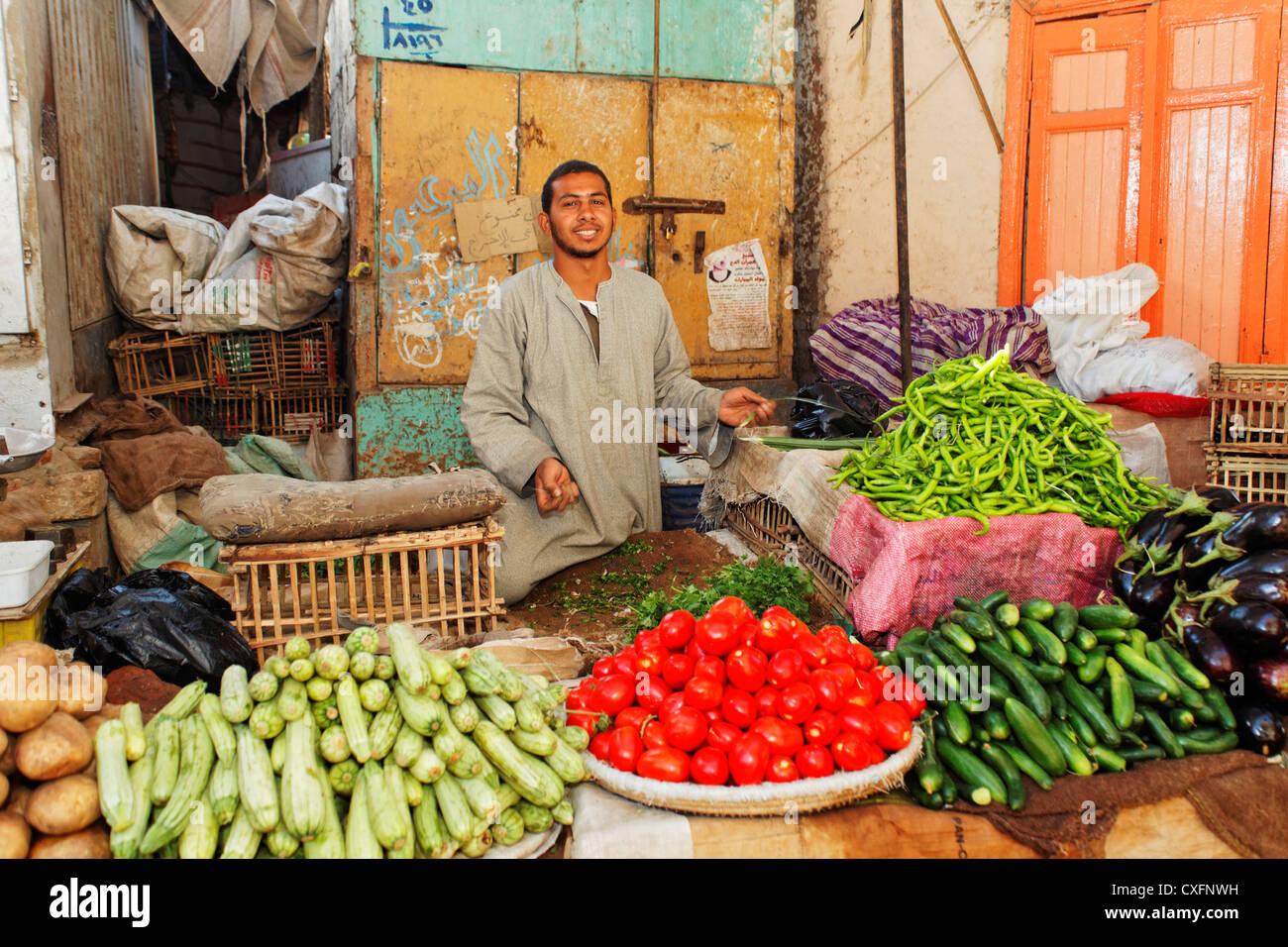 greengrocer in Esna, Egypt, Africa - Stock Image