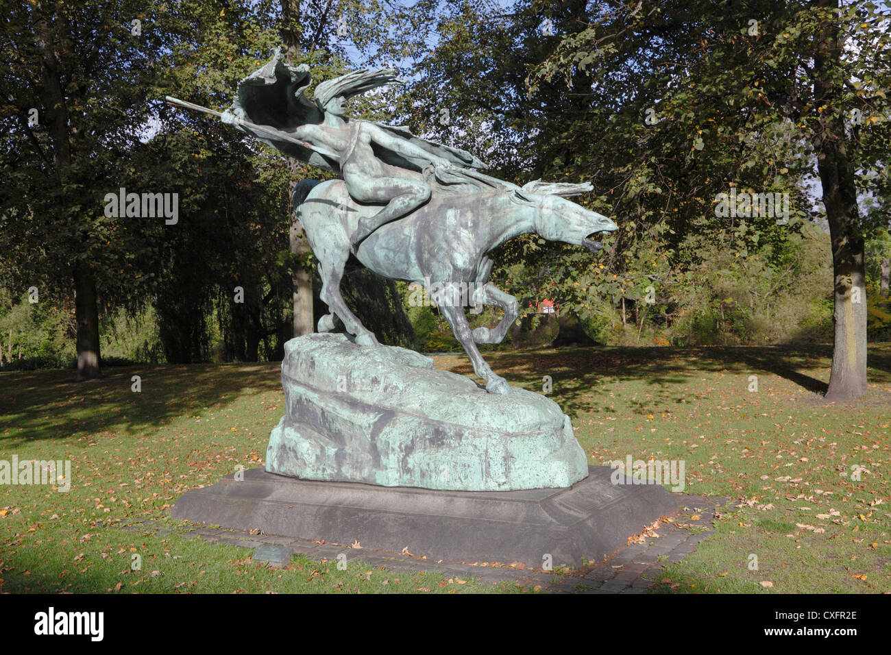 The Valkyrie bronze statue in Churchill Park at Groenningen in Copenhagen, Denmark. Female figure in Norse mythology. - Stock Image