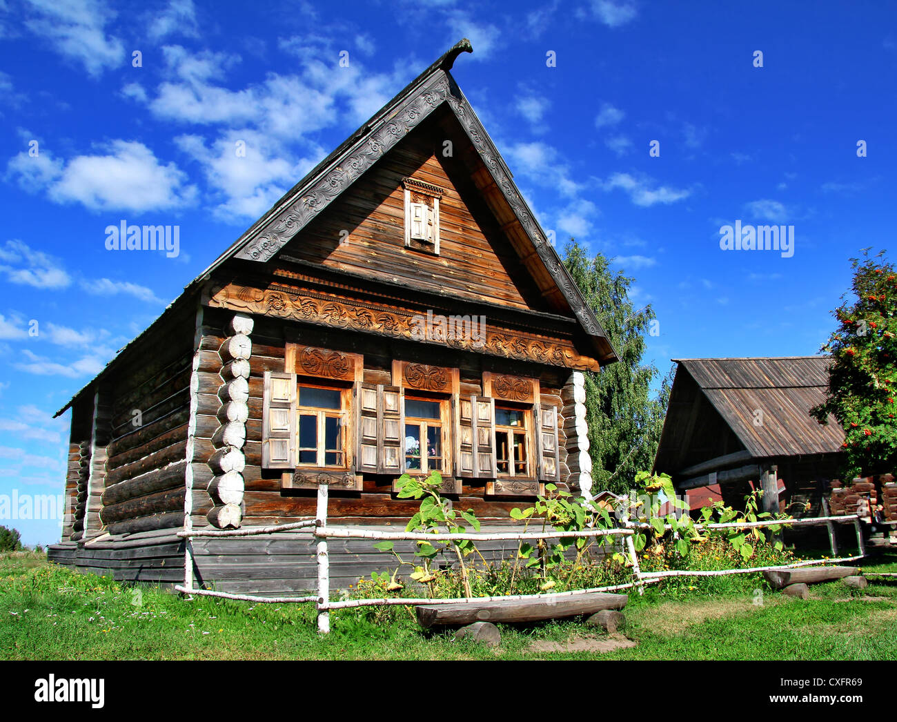 National Russian log house - izba - Stock Image