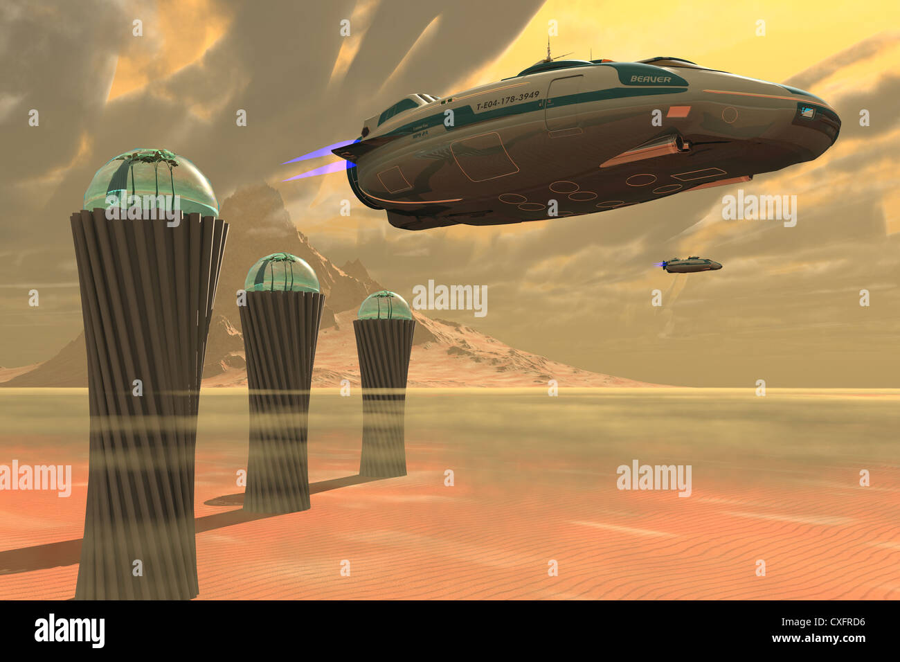 Two spacecraft takeoff from a colony which produces vegetation on a desert planet. - Stock Image