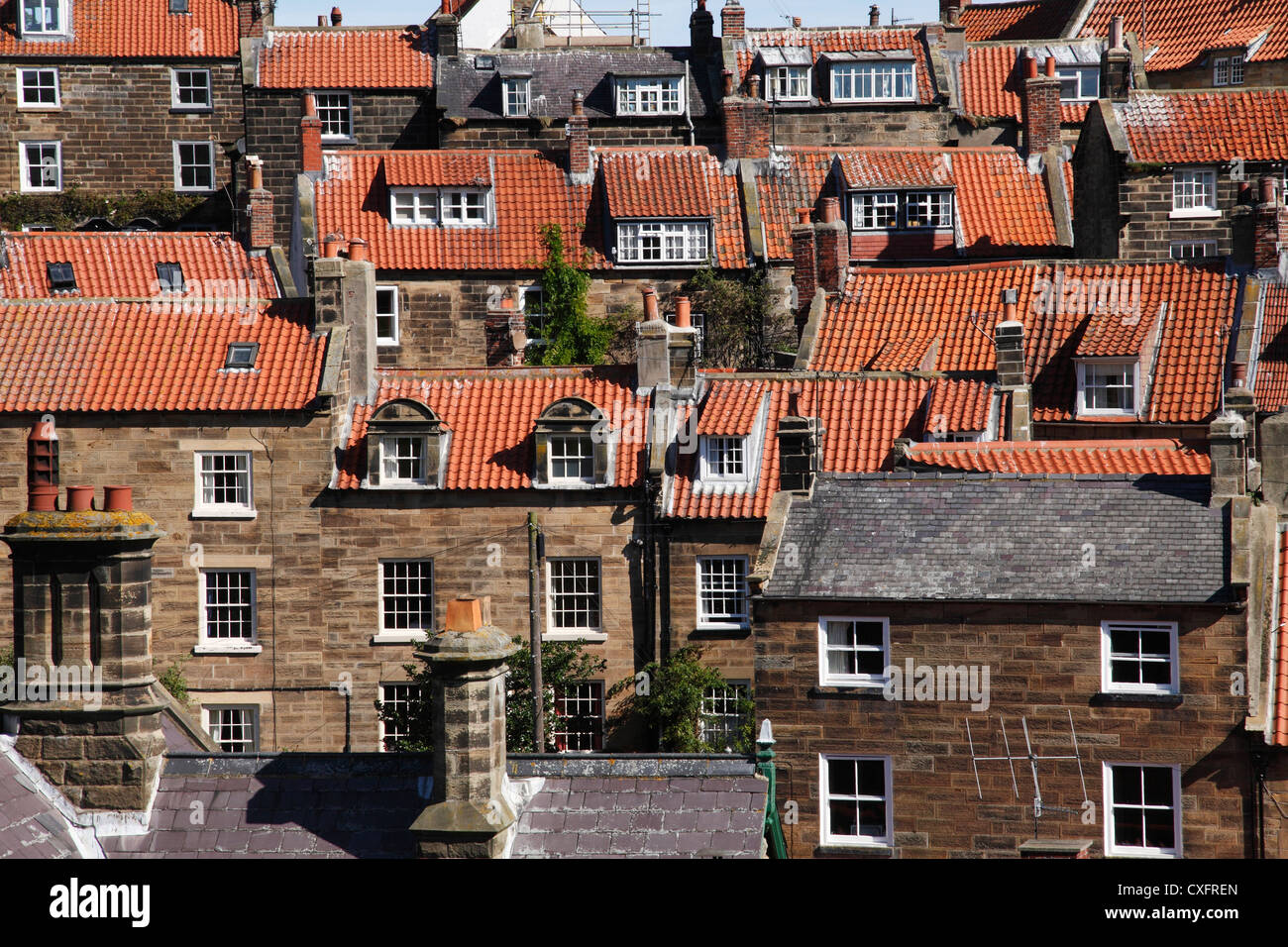 Tiled rooftops of houses in North Yorkshire, England, U.K. - Stock Image