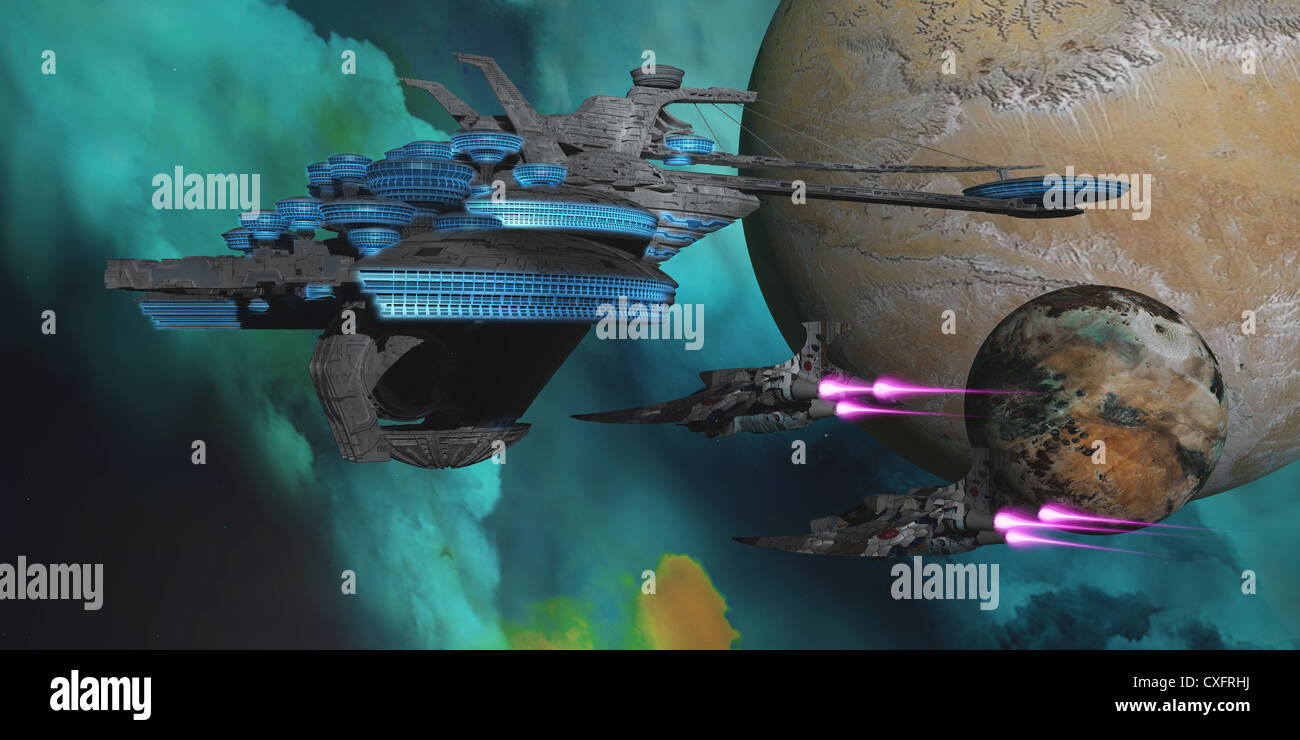 Two spacecraft return from a mission to a spaceport in orbit around an alien planet and its moon.. - Stock Image