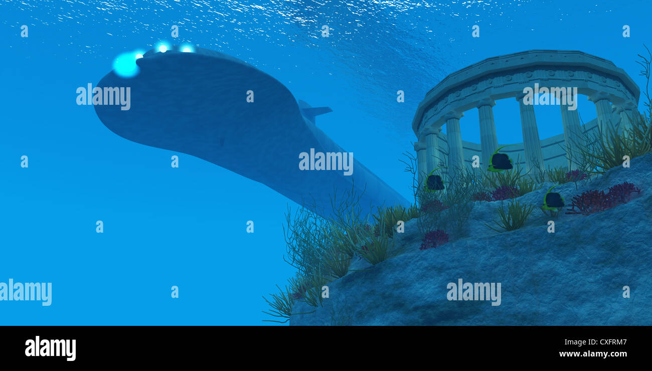 A submarine passes over a Greek temple ruin near a reef with sea life. - Stock Image