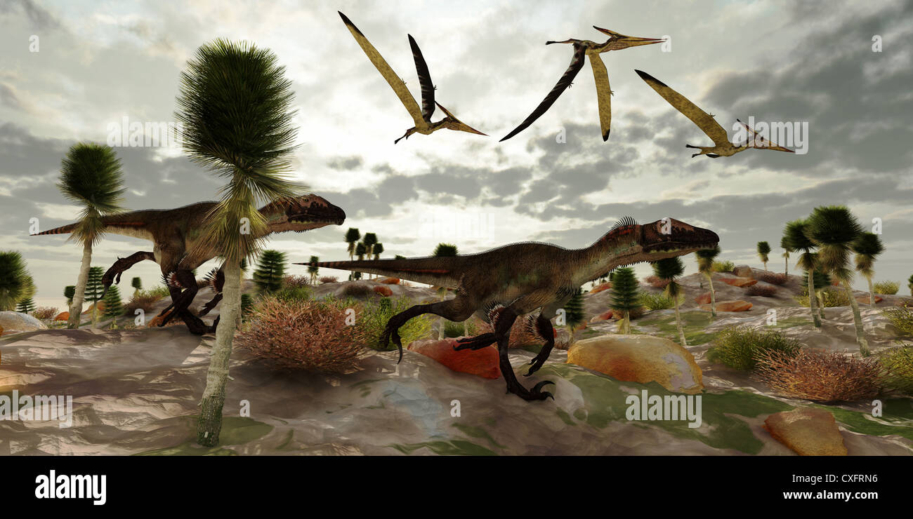 Three Pterosaur reptile dinosaur fly along and watch two Utahraptors as they hunt to share in the kill. - Stock Image