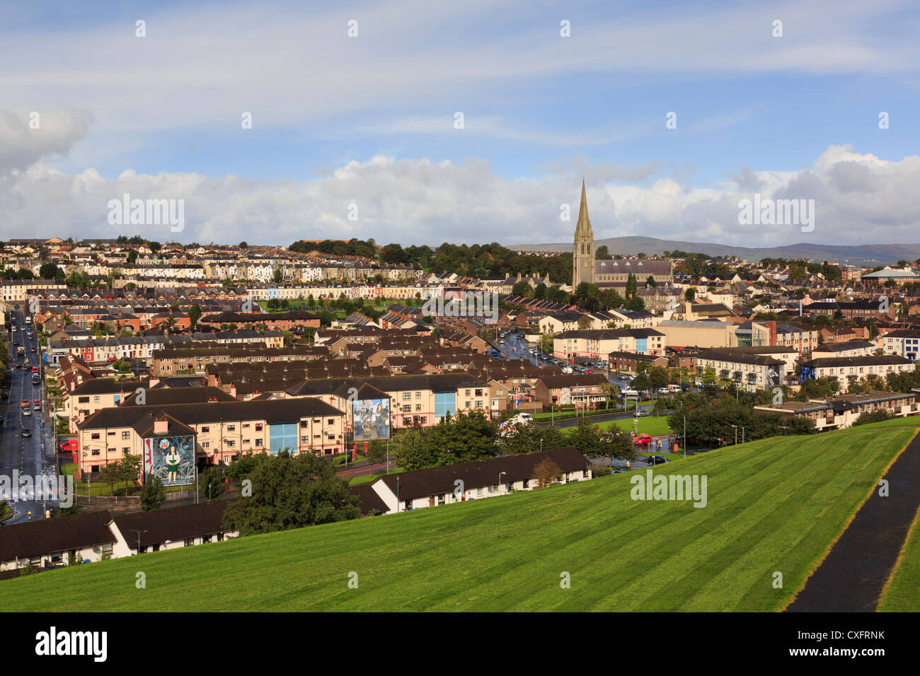 Elevated overview to Catholic Bogside or Nationalist area of the city from walls of Derry Co Londonderry Northern - Stock Image