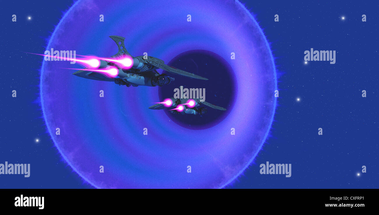 Two spaceships enter a wormhole on outer space to get to a universe in another part of the galaxy. - Stock Image
