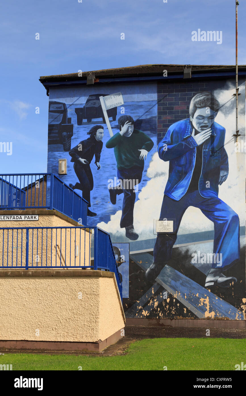 Street scene with The Runner Mural painted on side of a house as part of people's gallery by Bogside artists - Stock Image