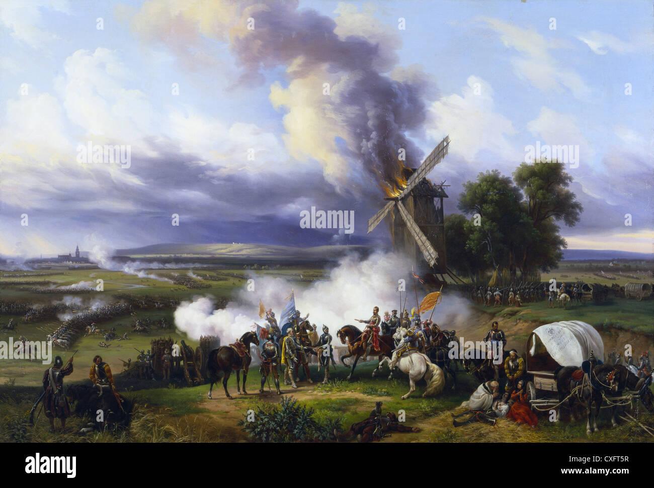 Italy Piedmont Turin Royal Palace Paint of Massimo D'Azeglio: Duke Emanuele Filiberto wins the French camps - Stock Image