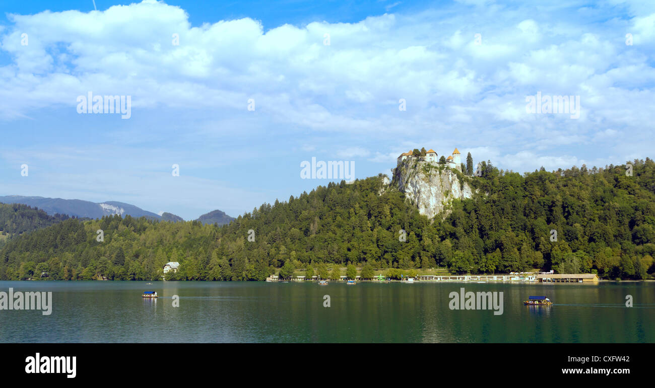 Lake Bled and castle in Slovenia Stock Photo