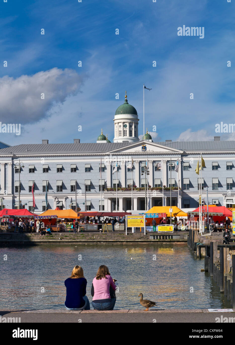 Helsinki Harbour with market and cathedral behind Helsinki Finland - Stock Image