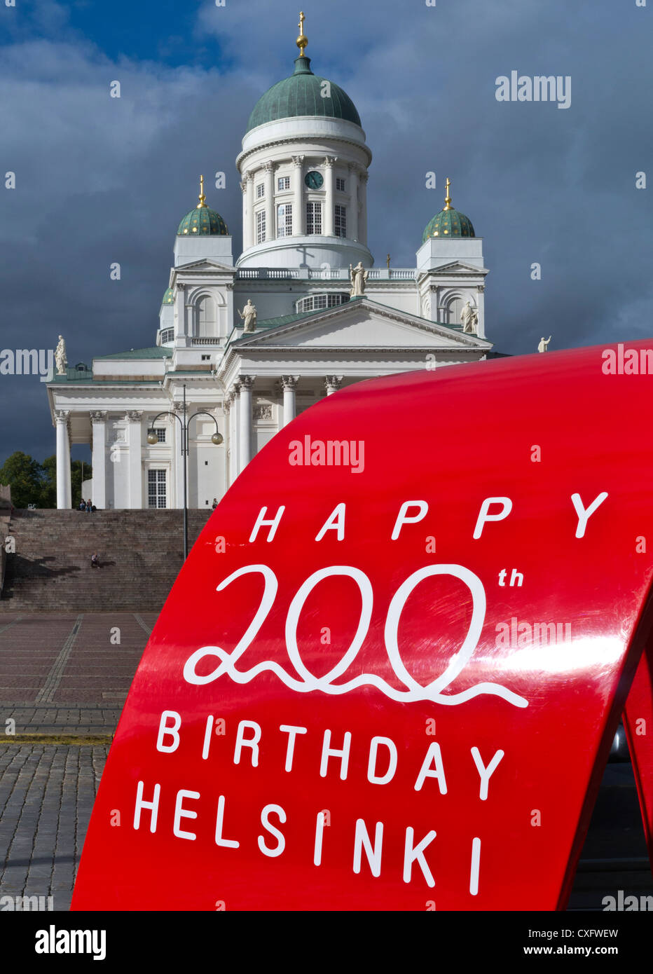 Helsinki Bicentennial celebration display with Helsinki Cathedral behind Finland - Stock Image