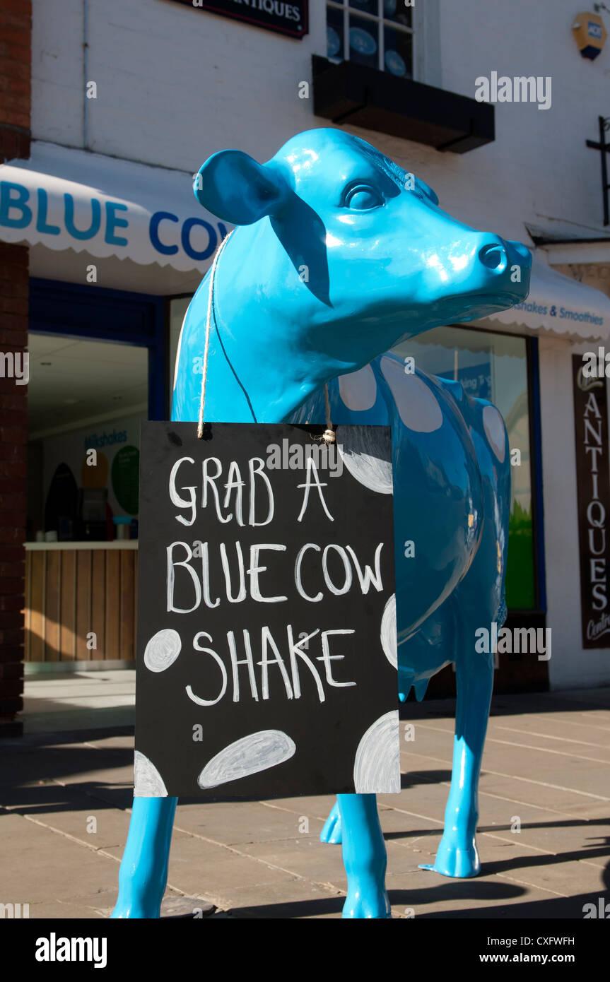 blue cow milk shake bar stratford upon avon uk stock photo